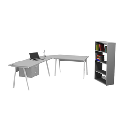 A-Frame Desk with L-Extention & Fitted Pedestal