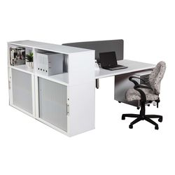 Euro Benching 2 Way Workstation with Side Roller Door Storage Cabinet