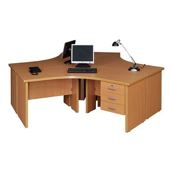 Valuline Curved 3 Way Workstation with Fitted Pedestal
