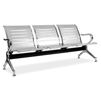 Linear 3 Seater Public / Airport Bench (Black / Silver)
