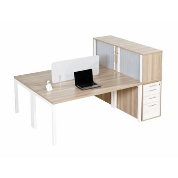 Euro Benching 2 Way Workstation with D/H/P with Top Roller Door Storage