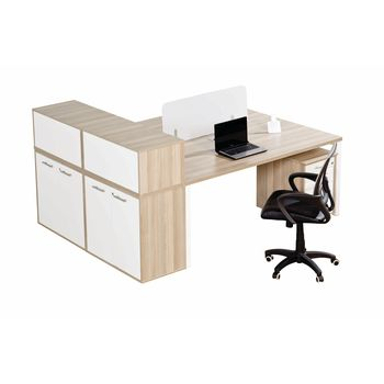 Euro Benching 2 Way Workstation with Side Hinged Door Storage Cabinet