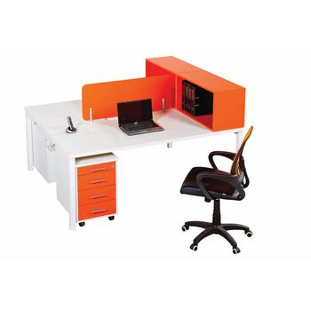 Euro Benching 2 Way Workstation with Mobile Pedestal & Desk Top Open Bookcase