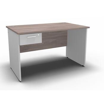 Discovery Desk 1200 x 750 with Single Drawer Fitted Pedestal - Mondego Elm & White